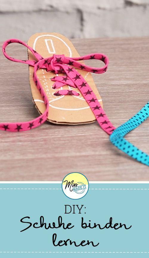 Mit dieser Bastelidee können deine Kinder spielend leicht Schuhe binden lernen. Miss Made It zeigt dir die Anleitung