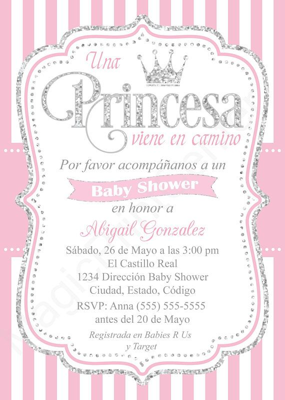 Spanish Royal Princess Baby Shower Invitation Girl Pink And