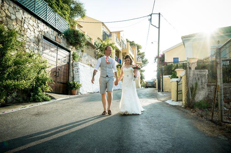Waliking on the street together #wedding #weddinginkefalonia #mythosweddings