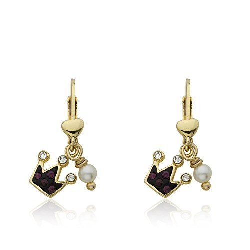 "Molly Glitz Girls' ""Pretty Princess"" 14k Gold-Plated Crystal Crown and Freshwater Pearl Dangle Drop Earrings"