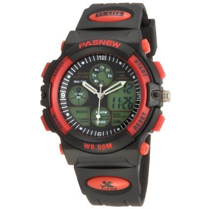 50m Water-proof Digital-analog Boys Girls Sport Digital Watch with Alarm Stopwatch Chronograph (Red)