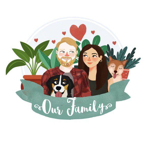 Couple Portrait, Couple illustration, Gift ideas, Custom portrait, Family portrait, Family illustration, Wedding gift