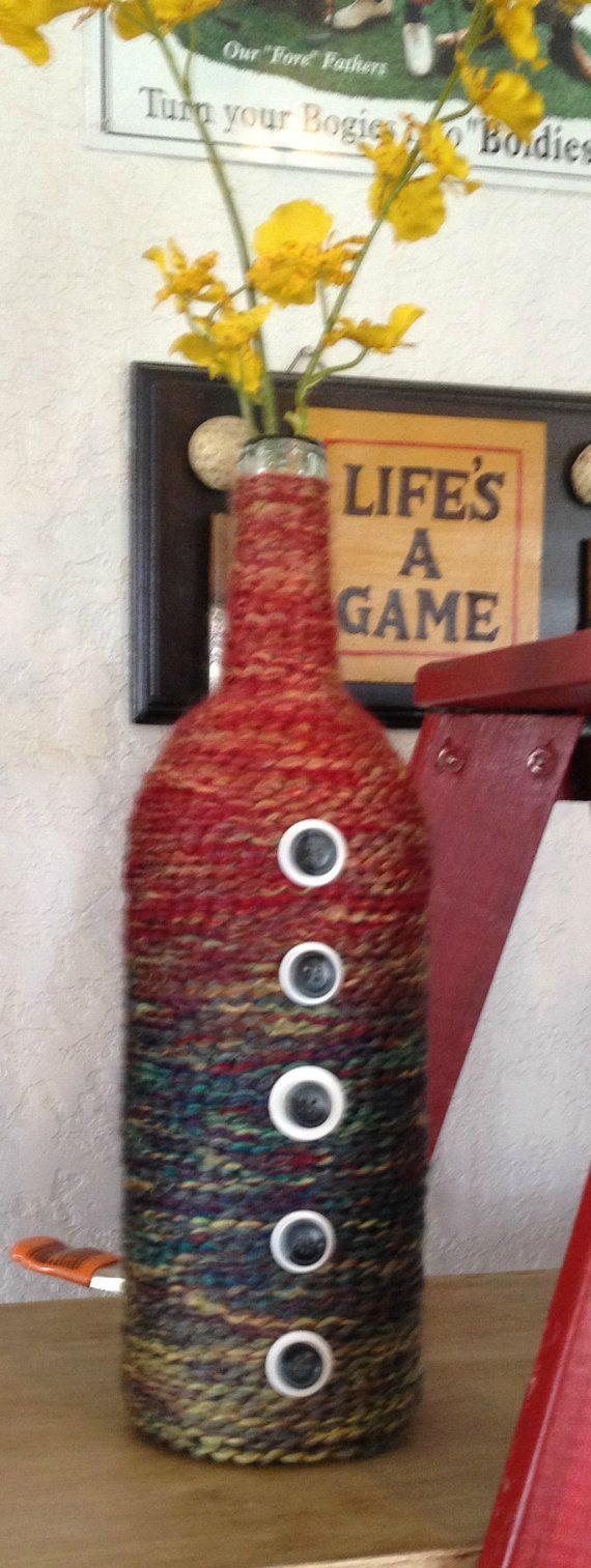 Yarn wrapped Bottle with Buttons Yarn Bottle by LemonandBean