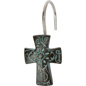 Turquoise Cross Shower Hooks----Would be pretty in our bathroom!