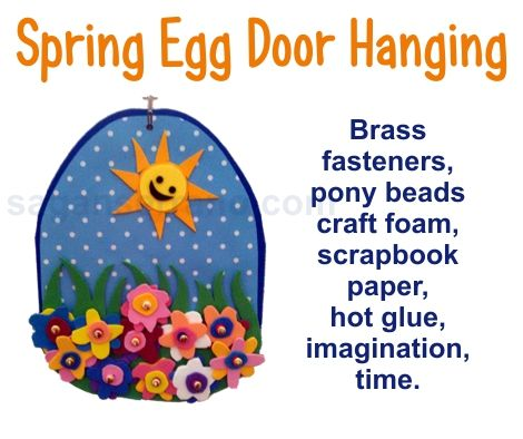 Spring Egg With Flowers Preschool Craft Wall Hanging
