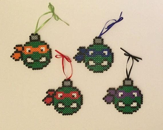 TMNT Teenage Mutant Ninja Turtles Perler Bead ampoule / ornements à billes