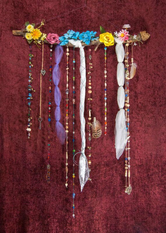 Bohemian Wall Decor - Floral Decoration - Boho Bedroom Decor - Chakra Colors - Beaded