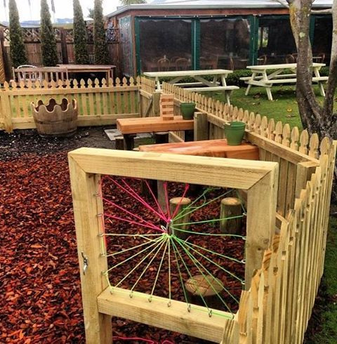 Cool kids weaving frame at The Vines Village, Marlborough NZ www.thevinesvillage.co.nz#outdoor play #natural play