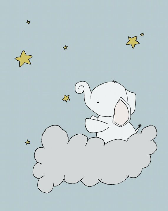 Elephant Nursery Art Print Star Cloud Decor Children Kids Wall In 2018 Baby