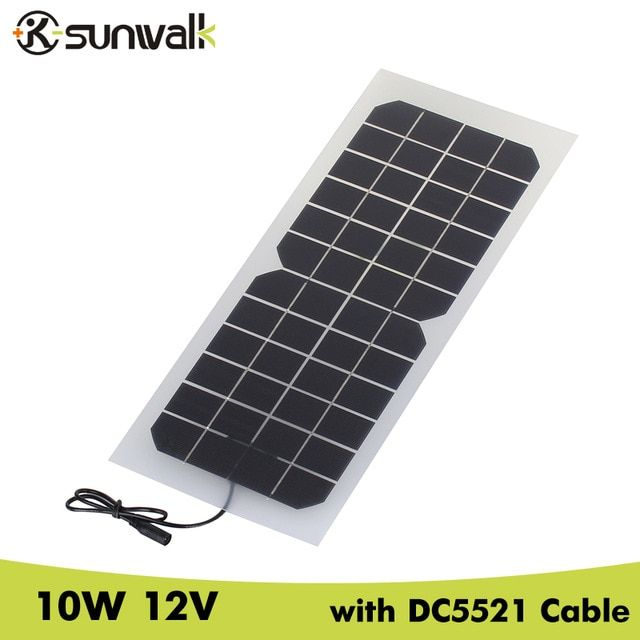Sunwalk 2pcs Monocrystalline Silicon 10w 12v Solar Panel With Dc 5521 Cable Semi Flexible 830ma 12v Solar Panel Charger Review Solar Panel Charger Solar Panels 12v Solar Panel