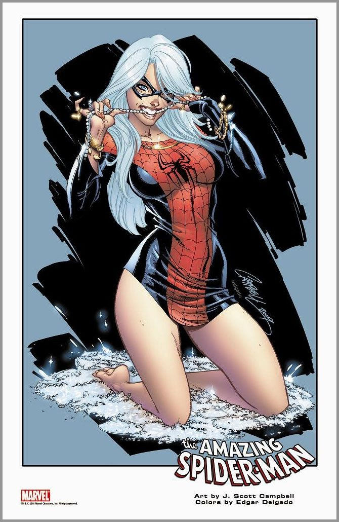 The Black Cat as The Amazing Spider-Man.. Artwork by J. Scott Campbell