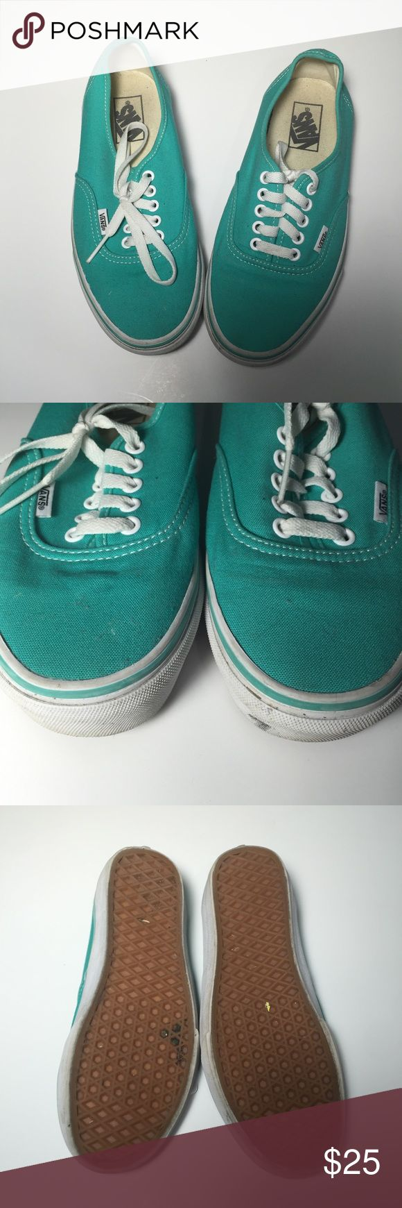 Teal vans size 8 Adorable teal vans size 8 (men's 6.5). Love these so much but I need to destashing my shoe collection. Some signs of wear but still on great condition! Vans Shoes Sneakers