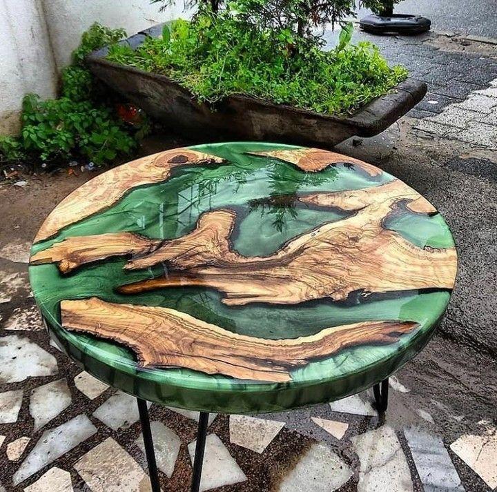 Natural olivee tree wood epoxy resin coffee table