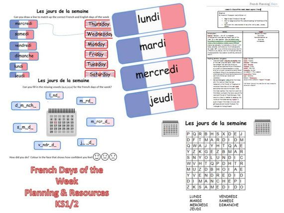 French Days of the Week Lesson Plan and by FrenchResourcesByJo