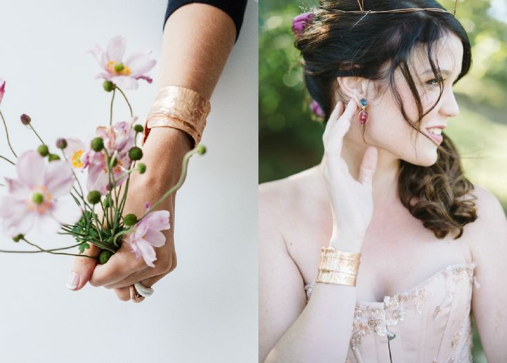 Veronica Gemstone Earrings and Sultan Rose Gold Cuff
