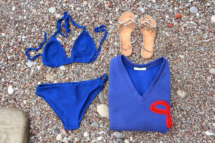 bakchic, blue, summer, crochet, bikini, arabic, sweatshirt