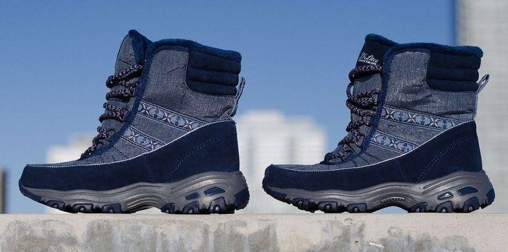 Skechers D'Lites Women's 8.5 Blue Chateau Suede Trim Lace Up Winter Boots #Skechers #Boots #Winter