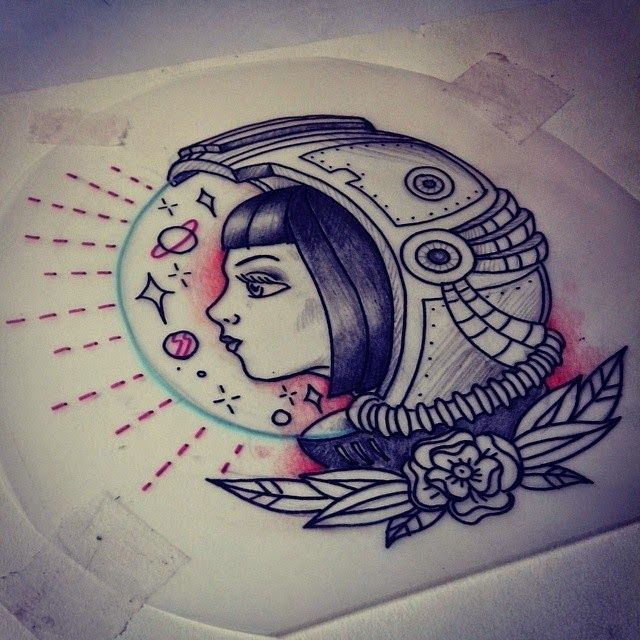 Tattoo astronaut girl