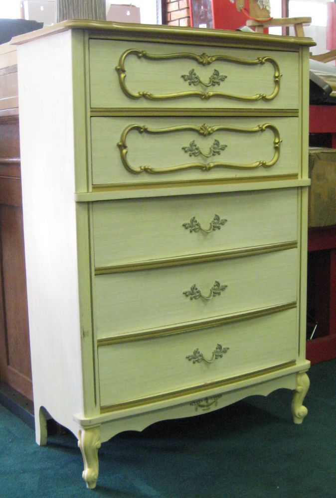 Vintage Wood Off White French Provincial Chest Of Drawers