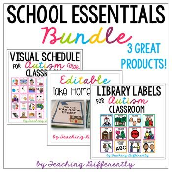 Get ready for back to school at a big discount with three essentials for autism and special education classrooms! This bundle includes the following products at a significant discount:-Editable Student Take Home Binder-Visual Individual & Classroom Schedules-Library Labels for Autism ClassroomStay connected by following me here:InstagramFacebookPinterestBlog