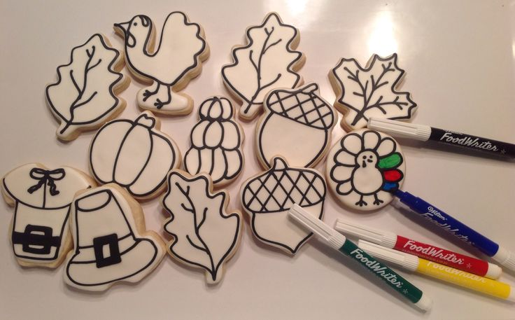 Thanksgiving coloring book cookies Decorated Sugar Cookies by I AM the Cookie…