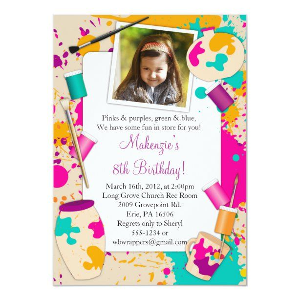 Paint Your Own Pottery Birthday Party Invitation Zazzle Com Paint Party Invitations Painting Birthday Party Birthday Party Invitations