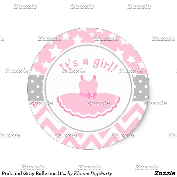 Pink and Gray Ballerina It's A Girl Classic Round Sticker