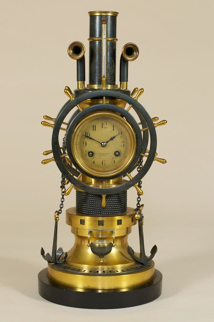 Very Rare Automaton Gilt Brass and Bronzed Mantel Clock in Nautical Theme by Guilmet,1895