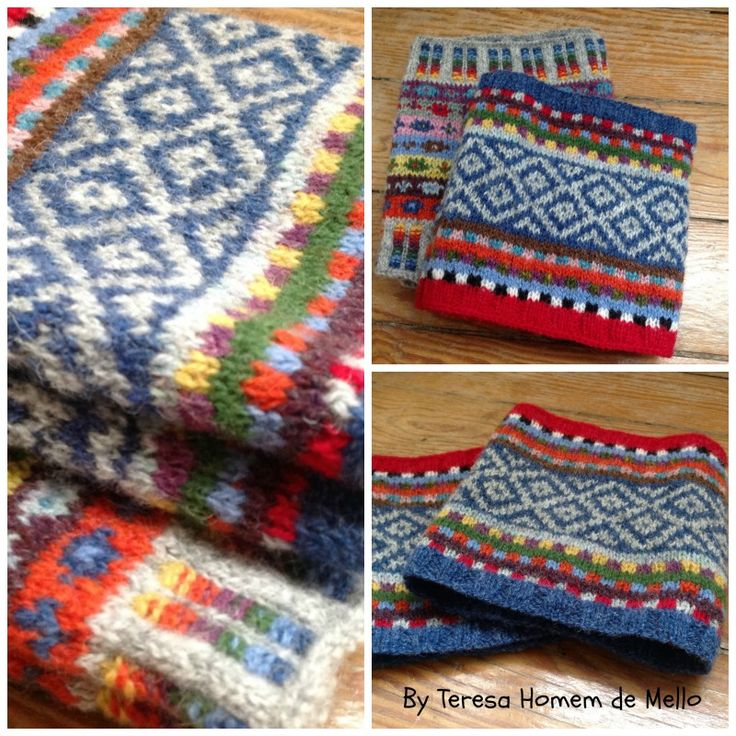 Fair Isle knitted boot cuffs by Teresa Homem de Mello -  yarn from the best wool shop in Portugal Retrosaria Rosa Pomar