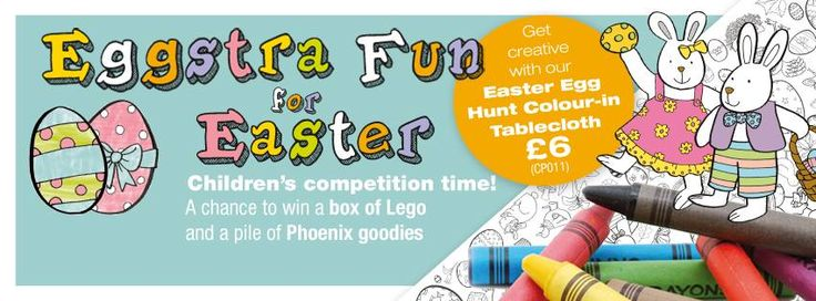 Get creative this Easter (2016) with our Colour-in Easter Egg Hunt Tablecloth. Win a box of Lego and a pile of Phoenix goodies (approximate value £75 / €110 / AU$150 / NZ$170) Pinterest comp here from Phoenix Trading - Send a photograph of your completed Tablecloth to them by email, to eastereggs@phoenixtrading.com by 29th April 2016