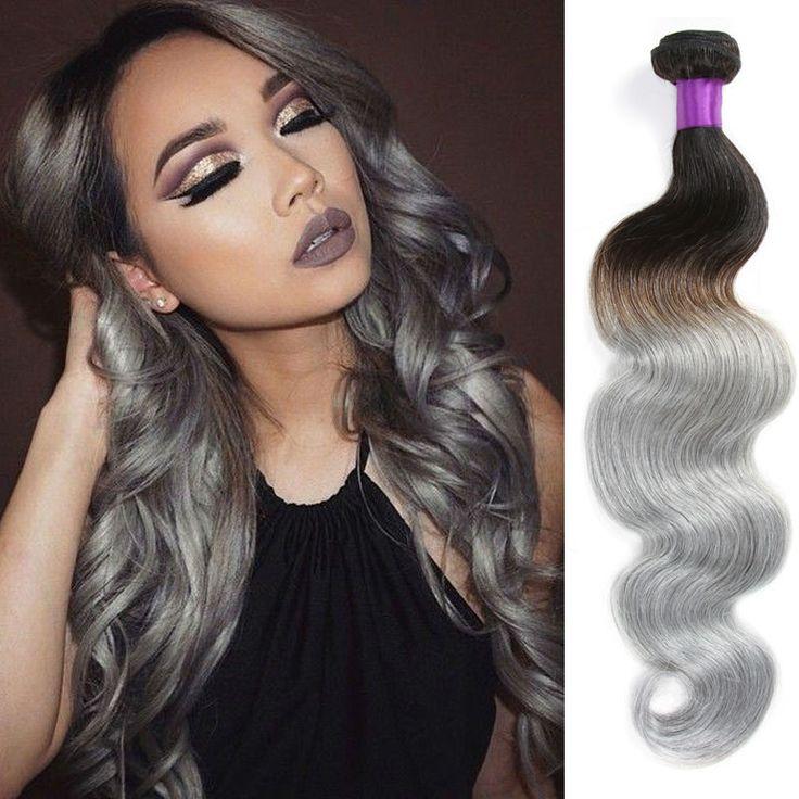 8A Brazilian Body Wave Grey Hair Weave 4 Bundles Brazilian Grey Ombre Hair Weave Unprocessed  Brazilian Virgin Hair Human Hair