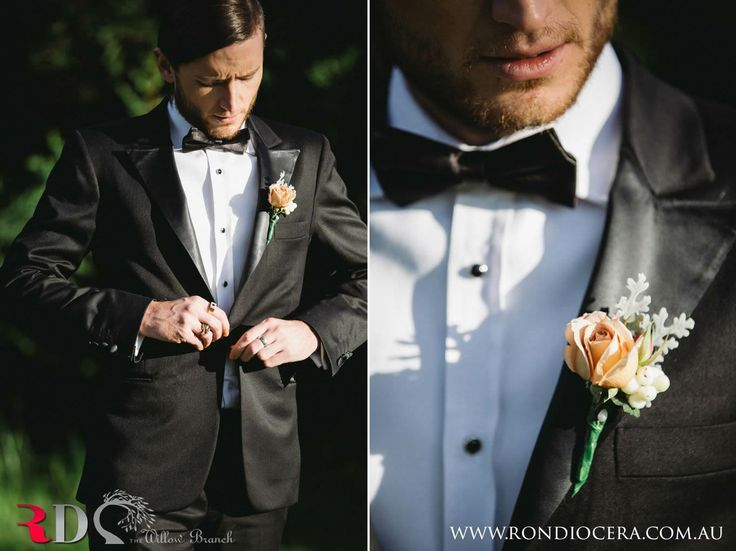 Our spunky model Greg with a Soho rose, leucodendron, snowberry and dusty miller buttonhole.  http://www.thewillowbranch.com.au/farmstead-part-2-2/