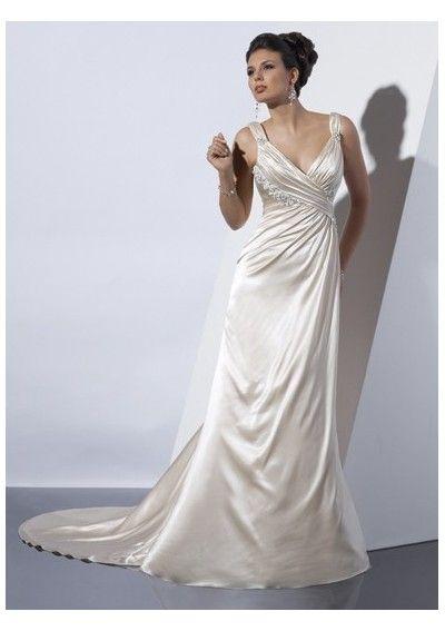 Sexy deep v-neck a-line wedding dresses