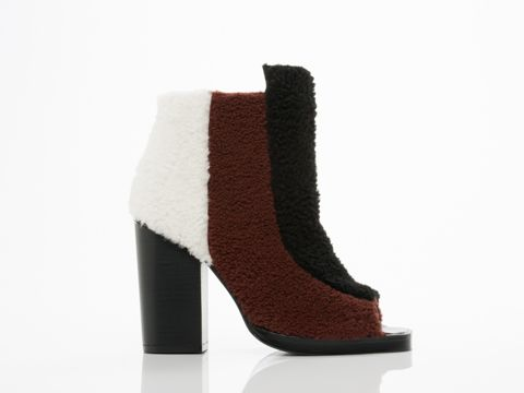Opening Ceremony Elise Open Toe Bootie in Henna Multi Shearling
