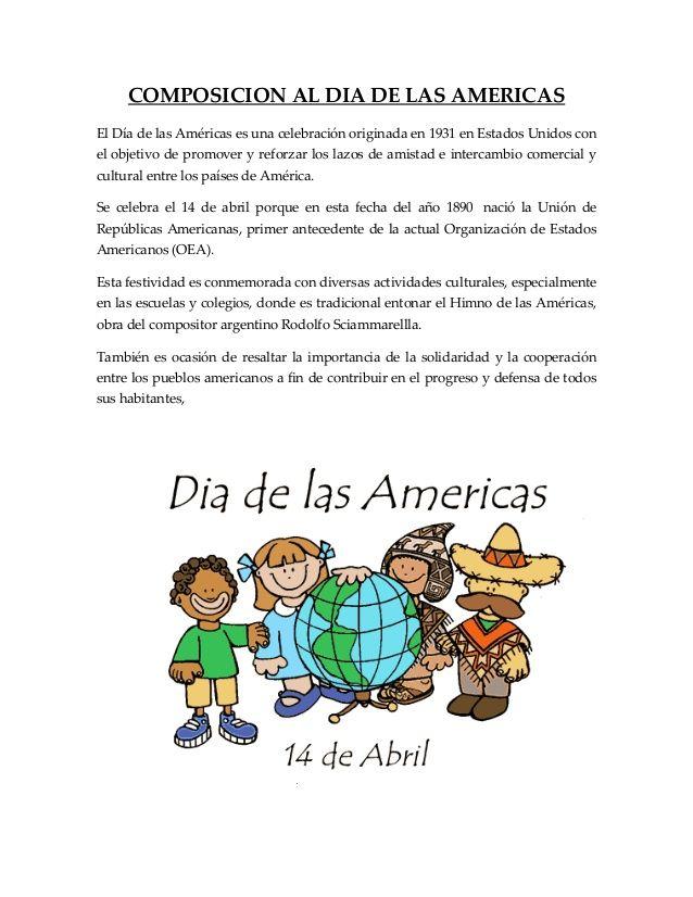 Composicion Al Dia De Las Americas Organizacion De Estados Americanos Carteleras Escolares Simbolos Matematicos