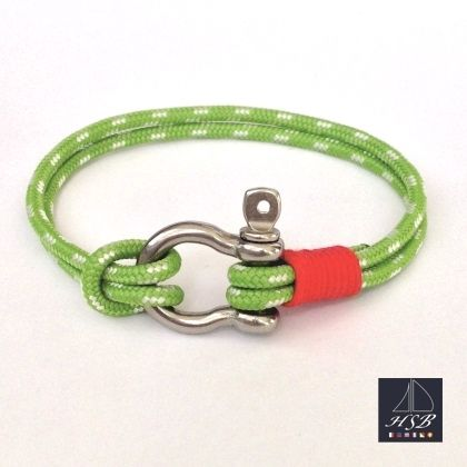 Green paracord bracelet with red line and stainless steel shackle - 45 RON