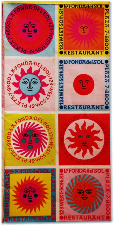 Menu for La Fonda del Sol Restaurant, New York, 1960. By Alexander Girard.