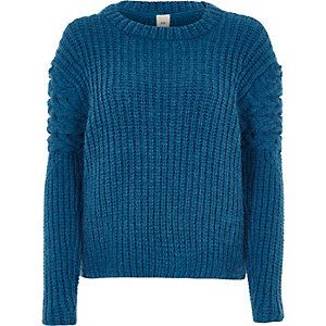 Blue chunky cable knit sleeve jumper