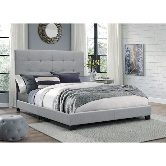 Finnigan Tufted Upholstered Low Profile Standard Bed Grey Bed Frame Grey Upholstered Bed Upholstered Panel Bed