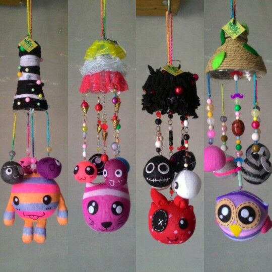 Hanging mobile from sock and upcycle plastic bottle on the top