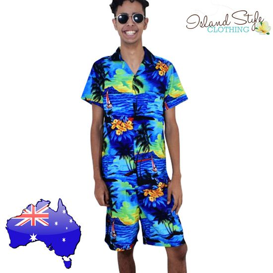 Blue Sunset Hawaiian Shirt & Shorts | Wicked party boy clothing for luau, beach party, schoolies, cruise or special events.