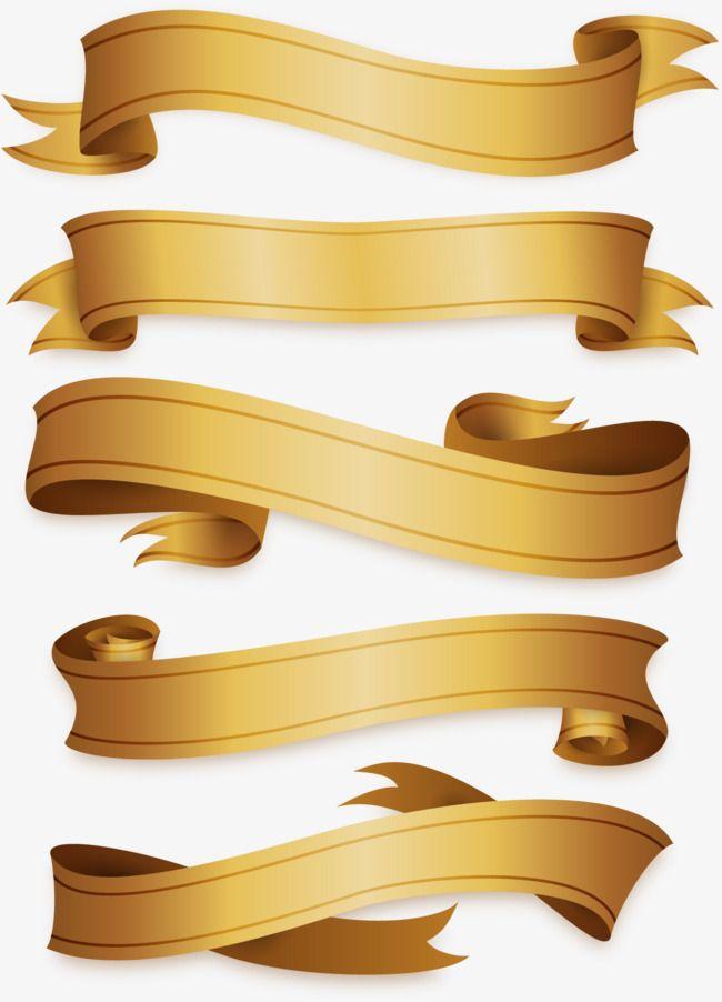 vector material gold ribbon rotate the ribbon decorative ribbons