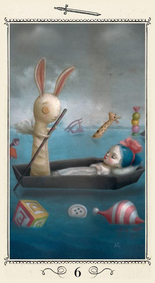 6 of Swords - Ceccoli Tarot  -- If you love Tarot, visit me at www.WhiteRabbitTarot.com