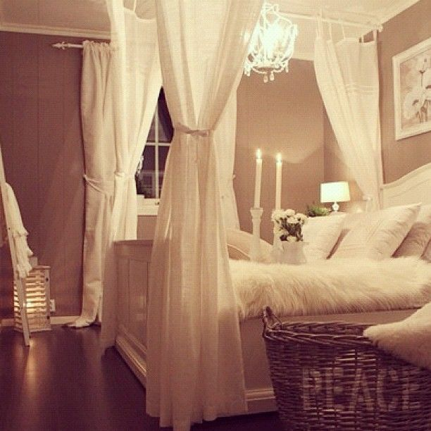 white bed with curtains DIY basket