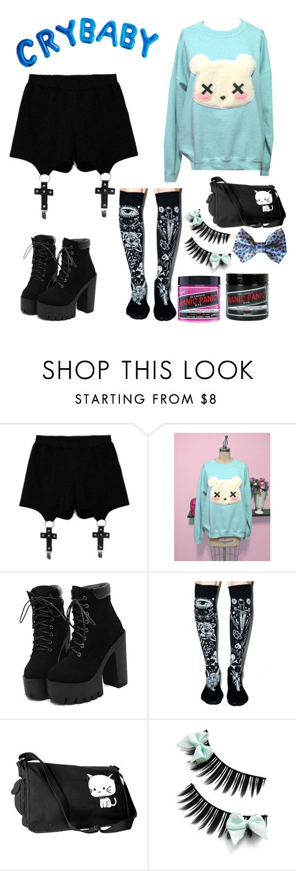 """Pastel Melanie Martinez inspired"" by danandphillove ❤ liked on Polyvore featuring Chicnova Fashion, Too Fast, Manic Panic, women's clothing, women's fashion, women, female, woman, misses and juniors"