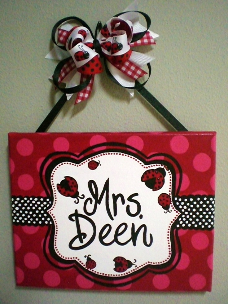 Red Black And White Lady Bug Polka Dot Name Sign For