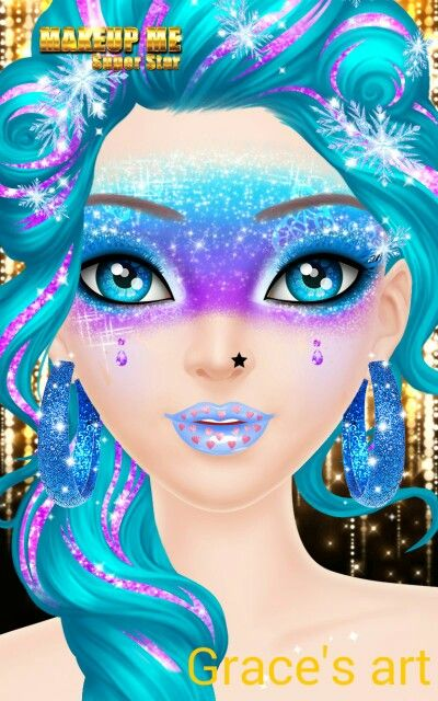 This is a game. it is called makeup me super star.I made this art it is so cool Isn't it.