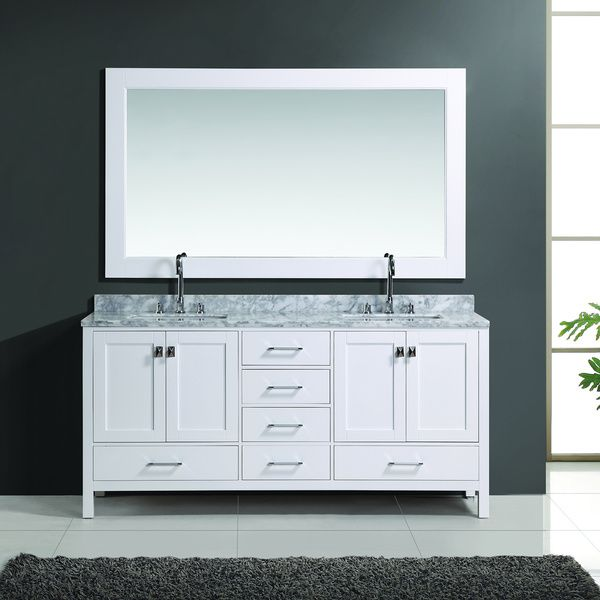 Web Image Gallery Design Element London inch White Finish Double Sink Vanity Set with Mirror