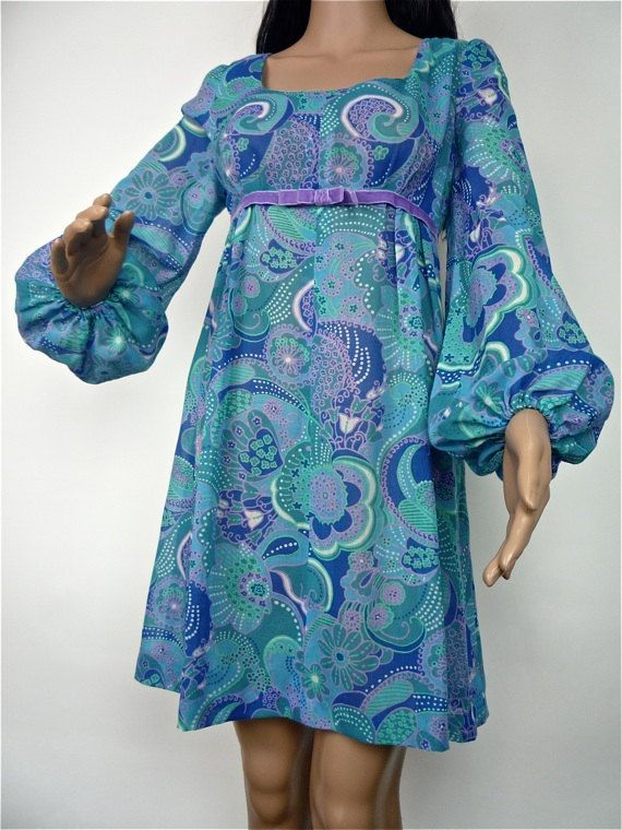 Gorgeous 60s blue veil baby doll mini dress with by HuzzarHuzzar, £35.00