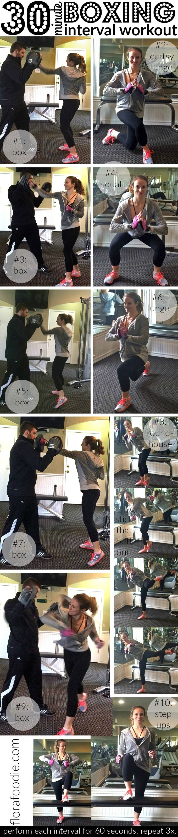 Boxing Interval Workout | 30 Minutes for a full-body cardio and resistance training workout you'll LOVE! {florafoodie.com}